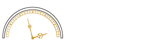 tic toc clock repairs logo with white and gold