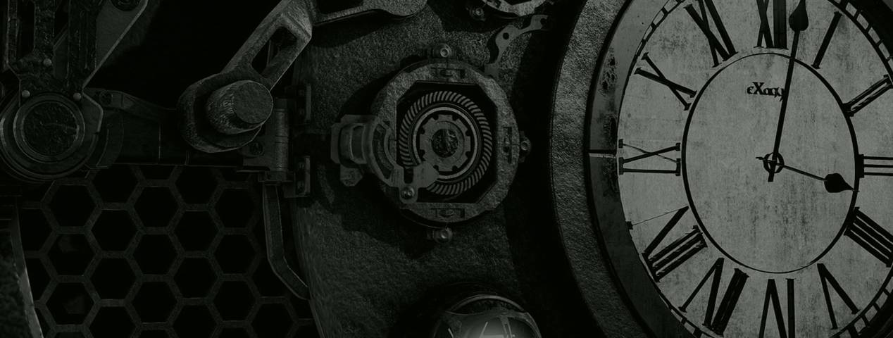 black and white clock with cogs and gears