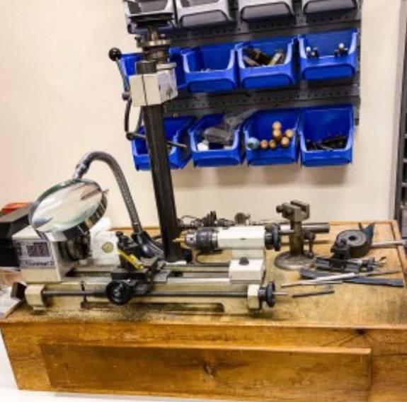 workshop with clock repair equiptment
